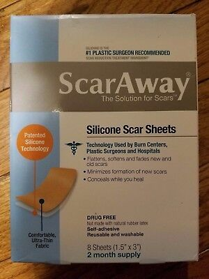 ScarAway Silicone Scar Minimizing Sheets  8 Each 2-Month Supply