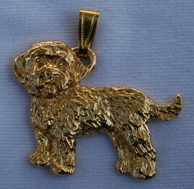 Cockapoo Dog 24K Gold Plated Pewter Pendant USA Made