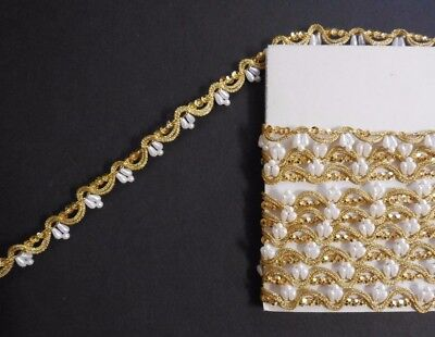 New Sew On Pearl Cup Sequin Gold Cording Trim Bridal Pageant