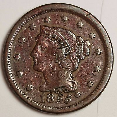 1855 Large Cent.  Error.  Knob in ear.  High Grade.  114990
