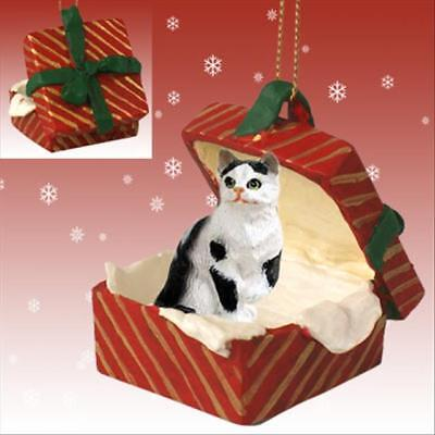 Black White Shorthair CAT RED Gift Box Holiday Christmas ORNAMENT