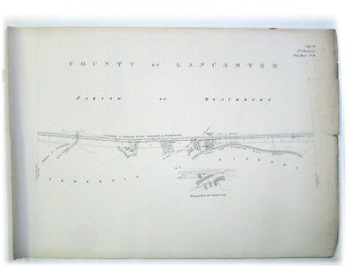 Lancashire Union Railways Plan / Print 1864 - Blackburn and Livesey