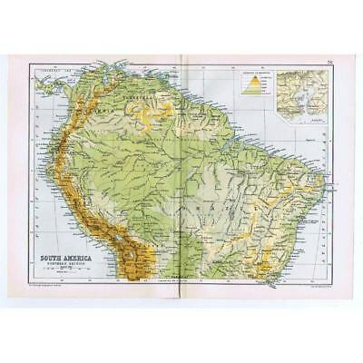 Antique Map 1910 - Colombia, Venezuela, Brazil, Bolivia, Ecuador by Bartholomew