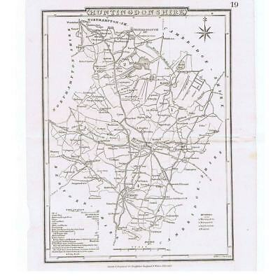 Antique Map  - Huntingdonshire for Dugdales - Early 19th Century Map