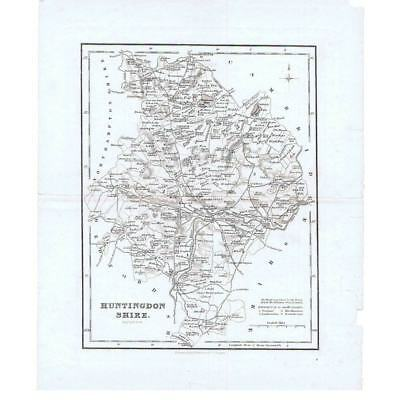 Antique Map 1834 - Huntingdonshire by R Scott Published by Fullarton