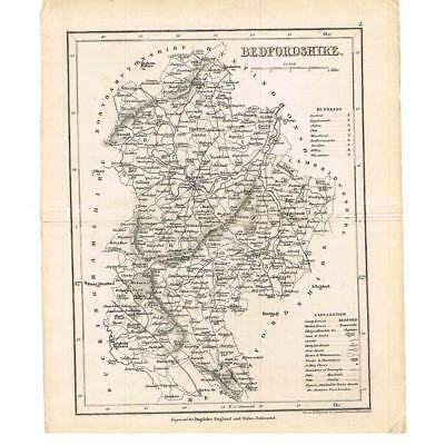 Antique Map c1840-Bedfordshire by Archer for Dugdales England & Wales Delineated