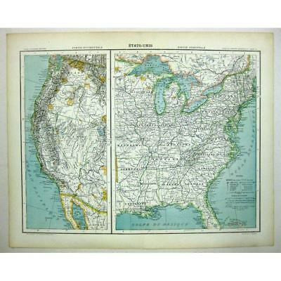 UNITED STATES OF AMERICA (Etats-Unis) - West and East Coasts - Antique Map 1891