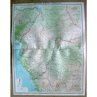 CENTRAL AFRICA Cameroon, Chad, Sudan, Belgian Congo - Vintage Map 1922