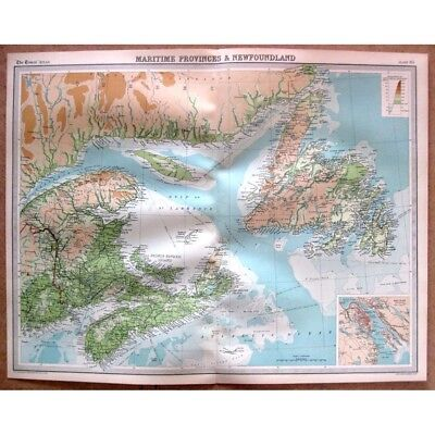CANADA Maritime Provinces and Newfoundland - Vintage Map 1922 by Bartholomew