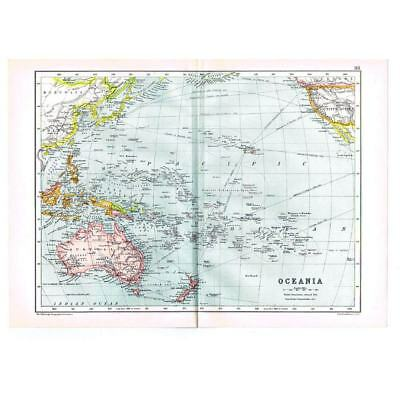 Antique Map 1910 - Oceania, Pacific Ocean with Shipping Routes by Bartholomew