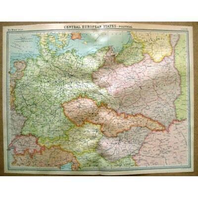 CENTRAL EUROPEAN STATES Political - Vintage Map 1922 by Bartholomew