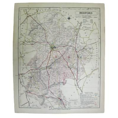 Antique Map 1889 - Bedfordshire (Letts, Son & Co) Bedford, Luton, Biggleswade