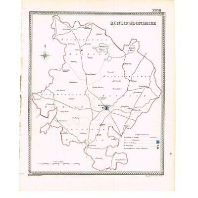 Hand Coloured Antique Map 1835 - Huntingdonshire by J&C Walker