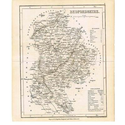 Antique Map c1840 - Bedfordshire Engraved by Archer for Dugdales England