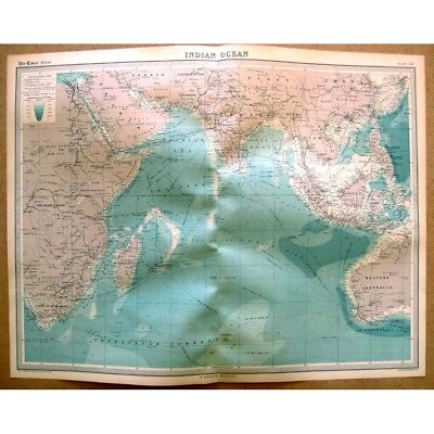 INDIAN OCEAN with Shipping Routes - Vintage Map 1922 by Bartholomew