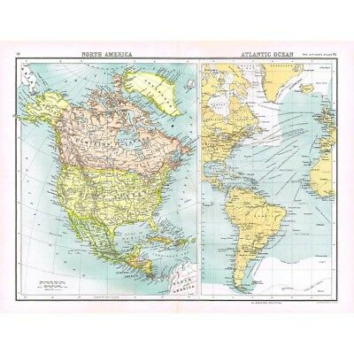 NORTH AMERICA & Atlantic Shipping Routes - Antique Map 1894 by Bartholomew