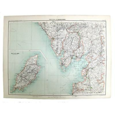 Antique Map 1898 - Isle of Man, Barrow, Lancaster, Windermere, Muncaster