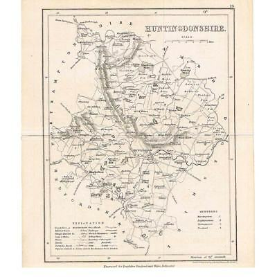 Antique Map c1840 - Huntingdonshire Engraved by Archer for Dugdales England