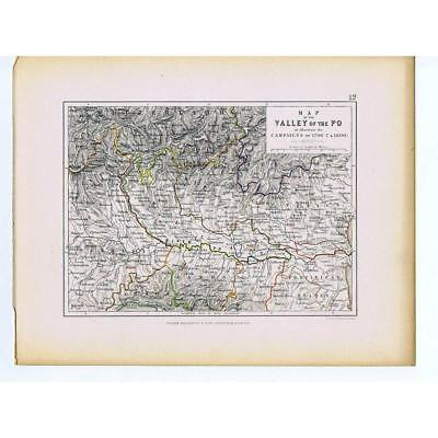 ITALY Battle Campaigns in Po Valley 1796-1800 French Revolutionary War- 1875 Map