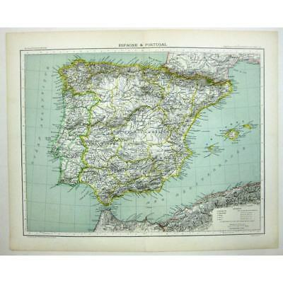 SPAIN (Espagne) and PORTUGAL and Balaeric Islands - Antique Map 1891