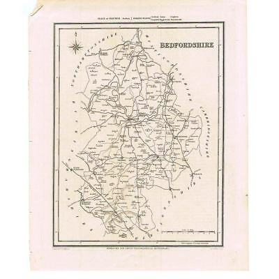 Antique Map 1835 - Bedfordshire by Walker for Lewis Topographical Dictionary