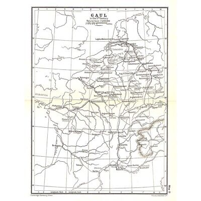 FRANCE Gaul in the 5th Century AD Map c1930 by W&AK Johnston