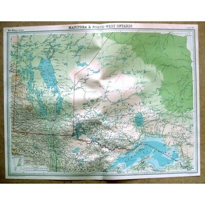 CANADA Manitoba and North West Ontario - Vintage Map 1922 by Bartholomew
