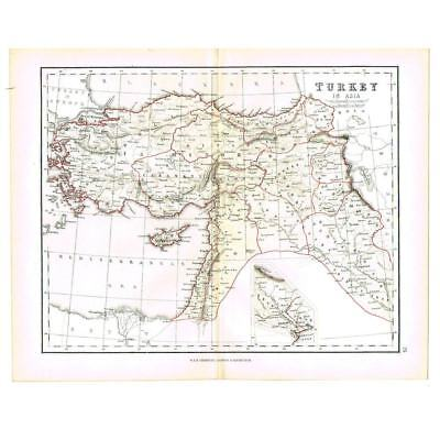 Antique Coloured Map 1856 - TURKEY in ASIA - by W&R Chambers