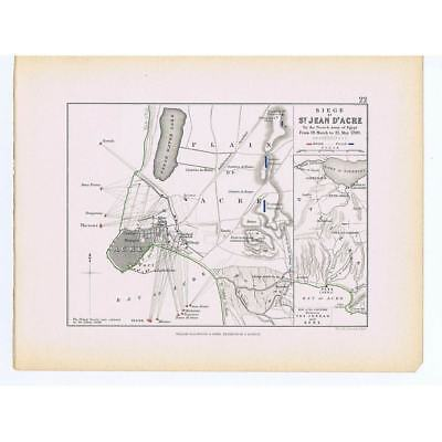 Siege of Acre (Akko, Modern day Israel) - British French Battle Lines - 1875 Map