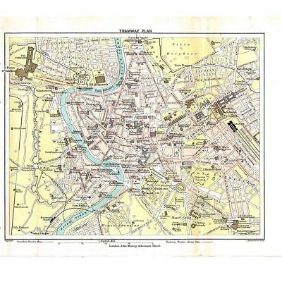 ROME Tramway Plan and Omnibus Routes - Antique Map 1899 by Bartholomew