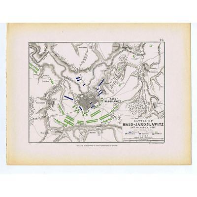 RUSSIA Battle of Malo-Jaroslawitz - French & Russian Positions- Antique Map 1875