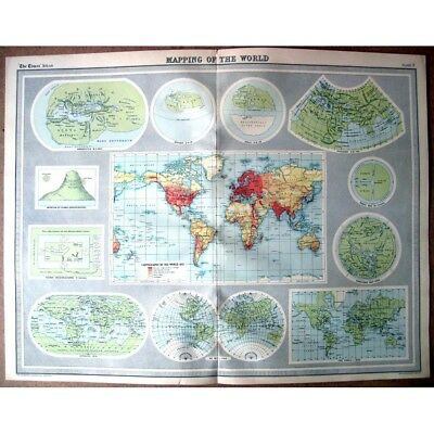WORLD Map Mapping the World Through the Ages 1922 by Bartholomew