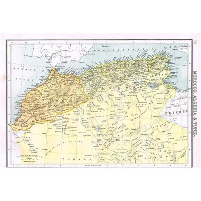 MOROCCO ALGERIA & TUNISIA - Antique Map 1894 by Bartholomew