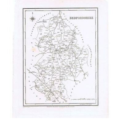 Antique Map 1835 - Bedfordshire by J&C Walker for Lewis Topographical Dictionary