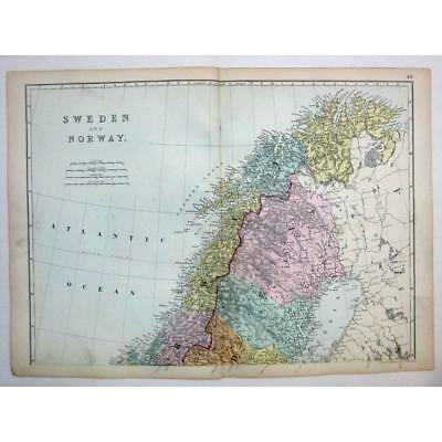 SWEDEN and NORWAY (North) - Antique Map 1880 by Bacon