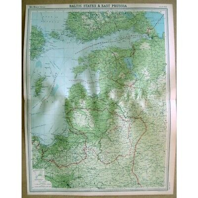 BALTIC STATES & EAST PRUSSIA - Vintage Map 1922 by Bartholomew