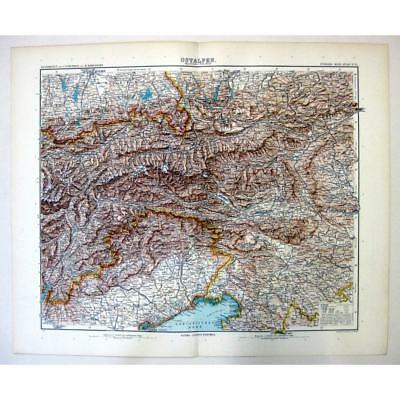 The Eastern Alps ITALY/AUSTRIA/SWITZERLAND - Antique Stieler Map 1905