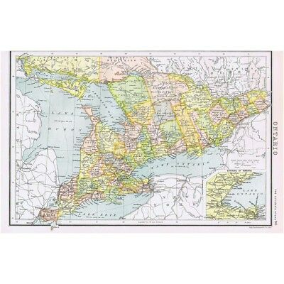 ONTARIO with inset of Toronto - Antique Map 1894 by Bartholomew