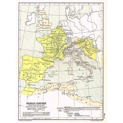 Roman Empire Western Division at End of 4th Century Map c1930 by W&AK Johnston