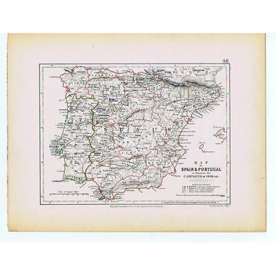 SPAIN / PORTUGAL to Illustrate the Campaign/Battles of 1808 etc-Antique Map 1875
