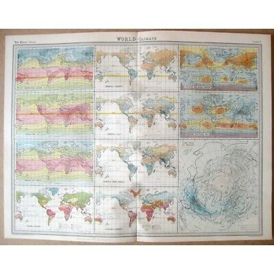 WORLD Climate - Vintage Map 1922 by Bartholomew