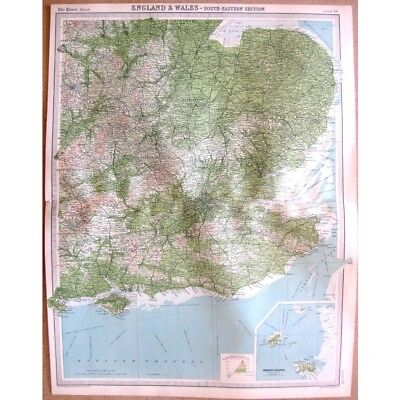 ENGLAND South East inset of Jersey, Guernsey - Vintage Map 1922 by Bartholomew