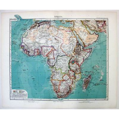 AFRICA (Afrika) General Map - Antique Stieler Map 1905