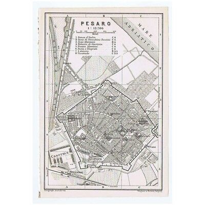 ITALY Street Plan of Pesaro - Antique Map 1909 Baedeker