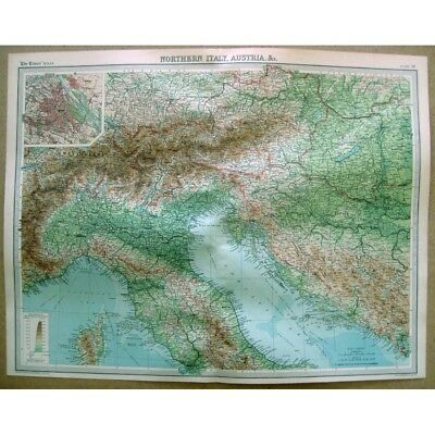 NORTHERN ITALY & AUSTRIA inset of Vienna - Vintage Map 1922 by Bartholomew