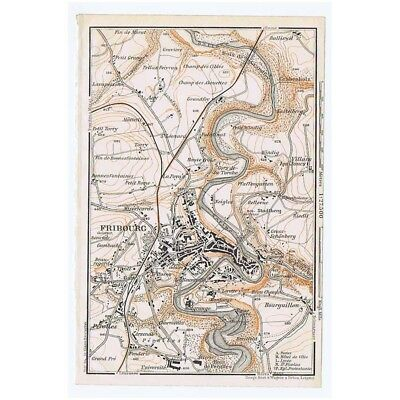 SWITZERLAND Environs of Fribourg - Antique Map 1913 Baedeker