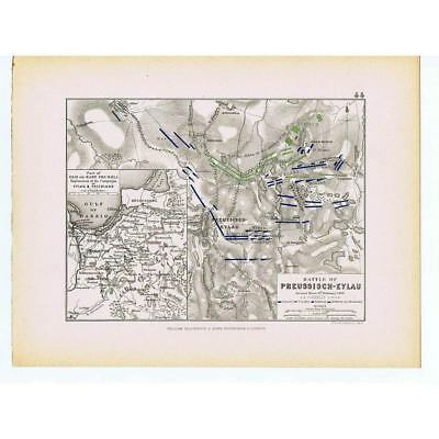 RUSSIA Battle of Preussisch-Eylau 1807-French & Russian Positions Day 2-1875 Map