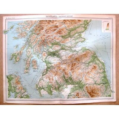 SCOTLAND Southern Section - Vintage Map 1922 by Bartholomew