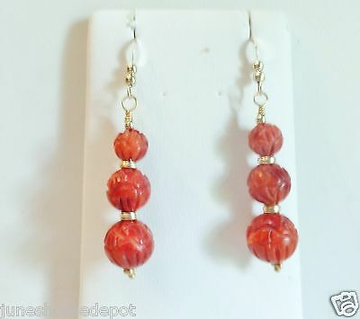 Gorgeous Triple Hand Carved Red Coral Dangle Earrings in 14k YGF