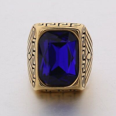 Mens Gold Stainless Steel Punk Celtic Knot Blue Sapphire Wedding Rings Jewellery